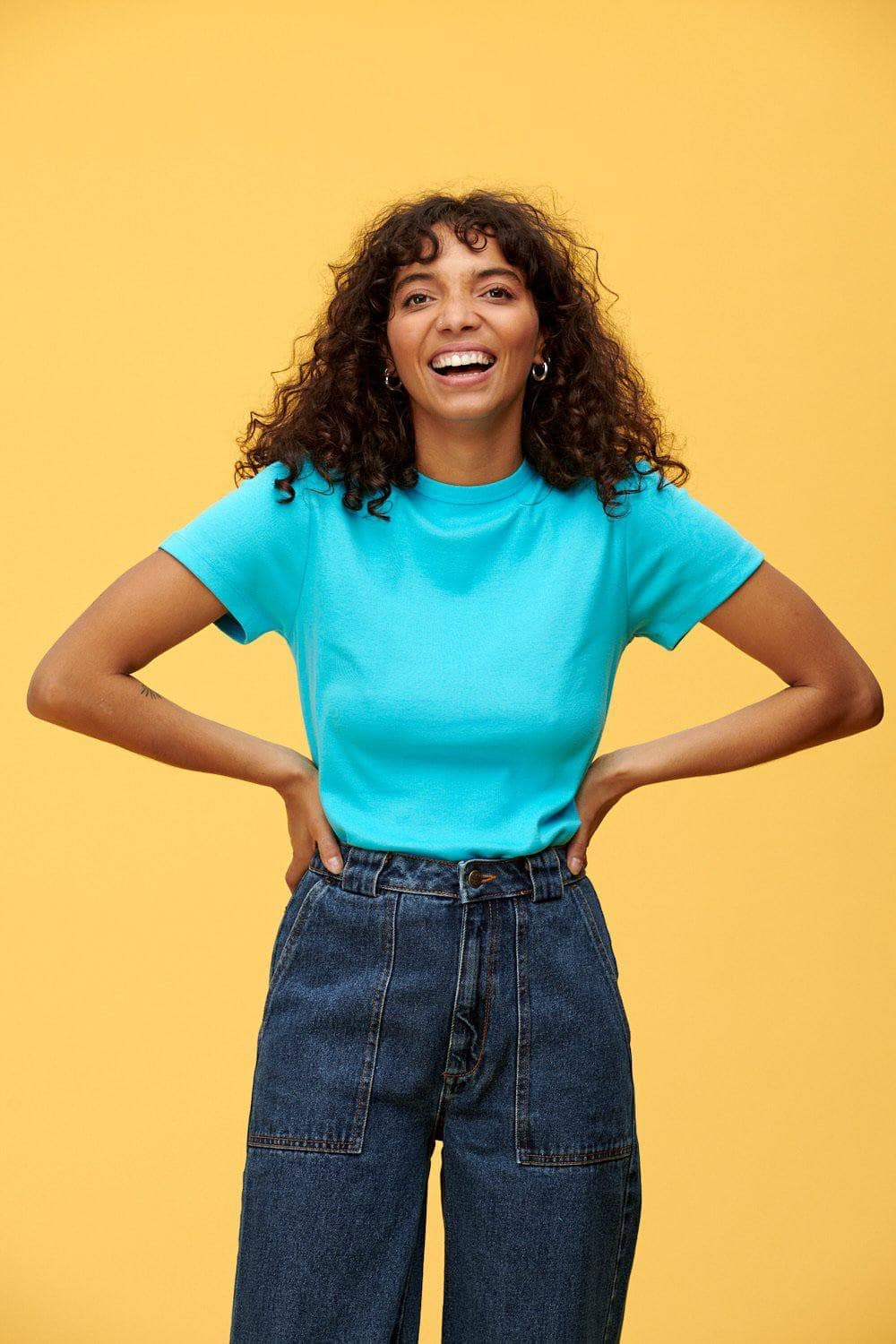 Lucy & Yak Tops 'Maya' Little Ribbed Plain Tee In Blue