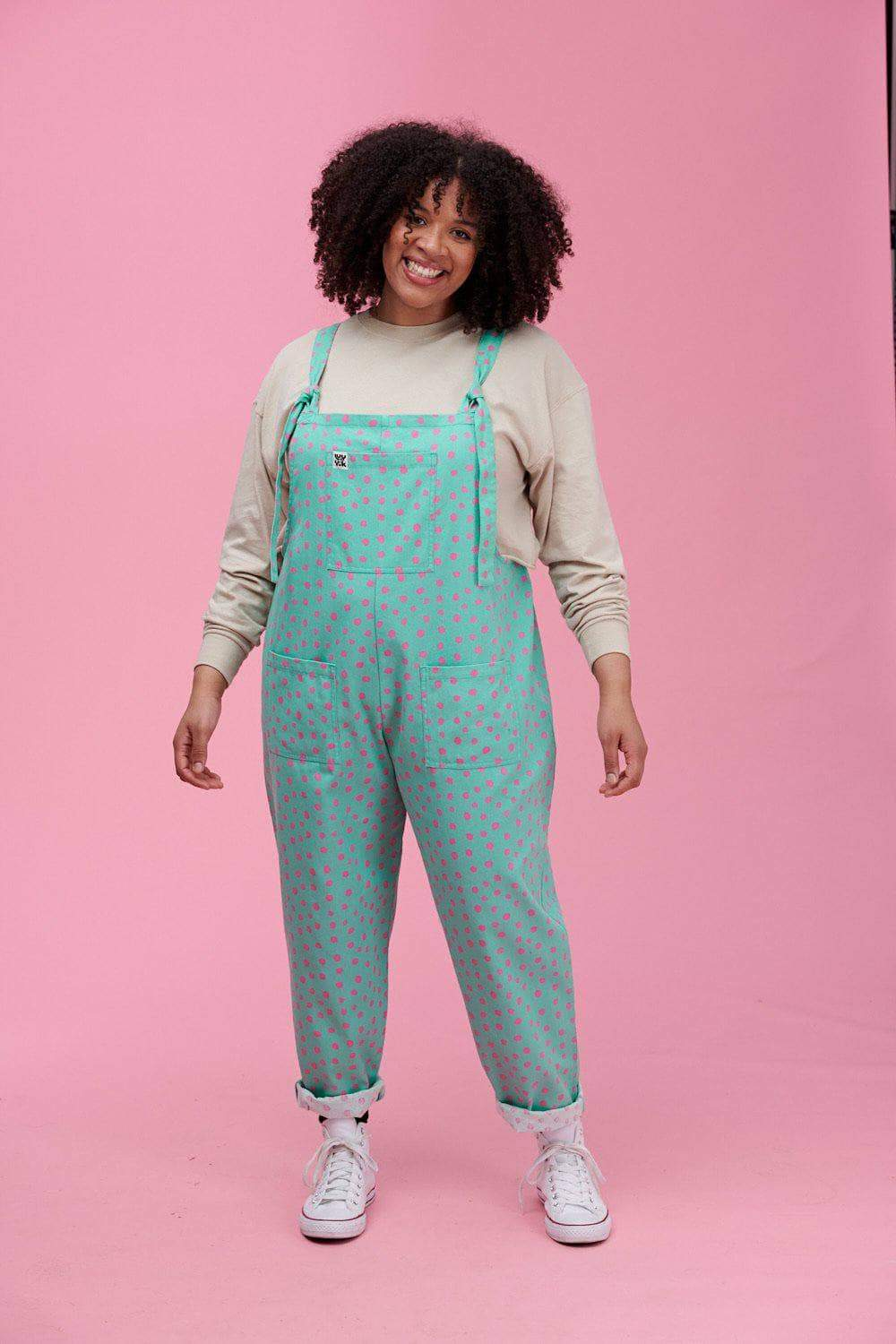 Lucy & Yak Dungarees River Limited Edition Dungarees In Sage & Pink Messy Polka Dot