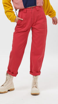 Lucy & Yak trousers 'Logan' High Rise Organic Jeans in Pink