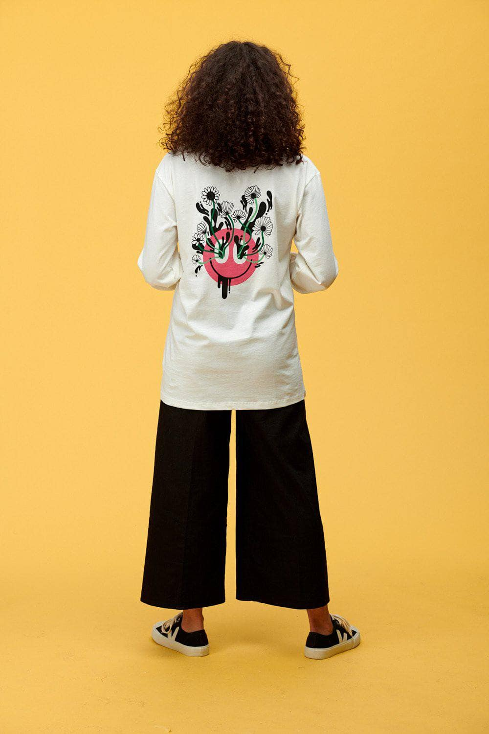 Lucy & Yak Tops 'Kenny' Long Sleeved Skater Top With Pink Face and Flowers in White by Lindsey Made This