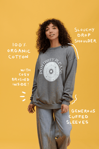 Lucy & Yak Tops 'Positivity Please' Sonny Sweater in Charcoal Grey