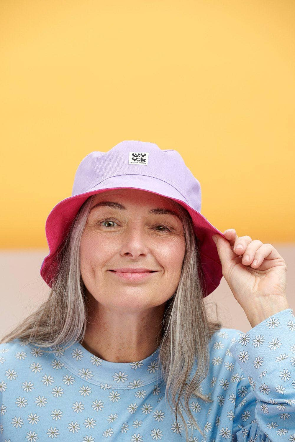 Lucy & Yak Hat Made in Britain Travis Bucket Hat in Lilac & Fuchsia