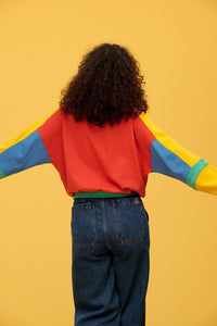 Lucy & Yak Tops Marley Cropped Half Zip Sweater with Red, Yellow, Blue & Green Panels
