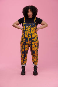 Lucy & Yak Dungarees 'Lola' Limited Edition Organic Cotton Dungarees with Abstract Face Print