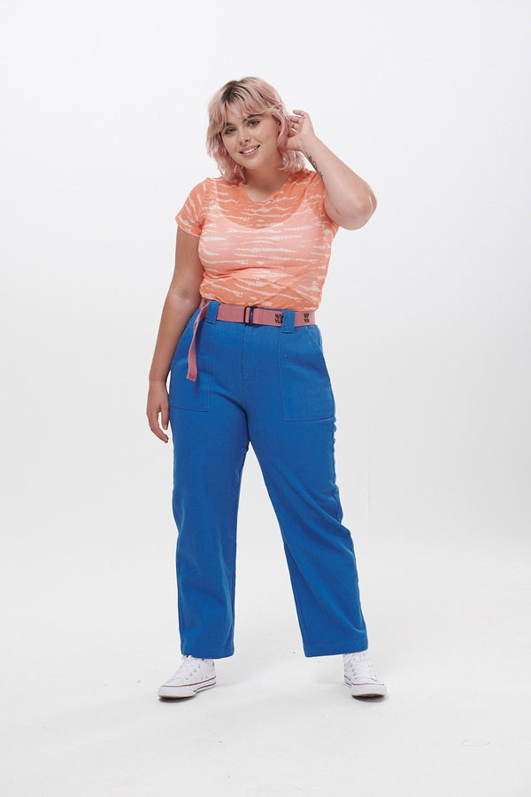Lucy & Yak trousers 'Logan' High Rise Organic Jeans in Cobalt Blue