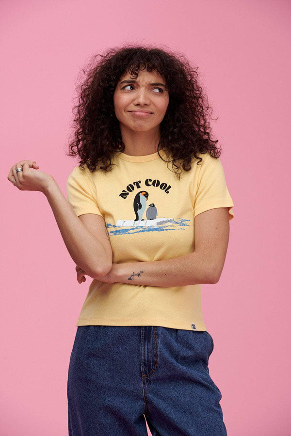 Lucy & Yak Tops 'Not Cool' Little Ribbed Tee With Penguin In Pale Banana