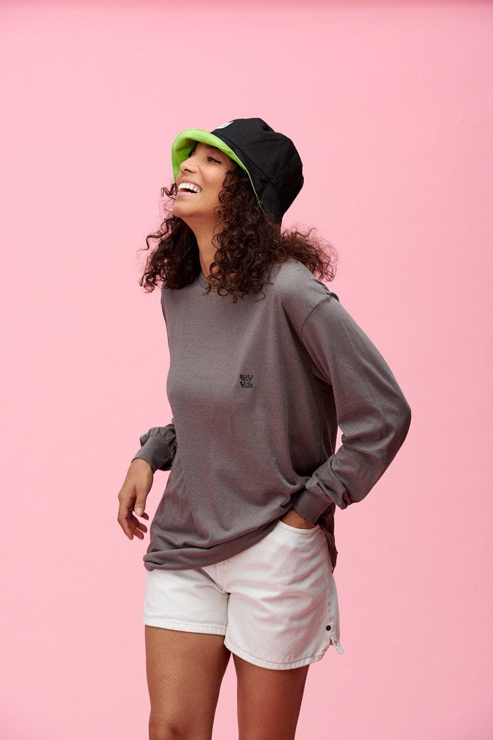 Lucy & Yak Hat Made in Britain 'Travis' Bucket Hat In Black & Lime