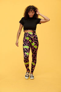 Lucy & Yak Leggings 'Wye' High Waisted Tencel Leggings With Pink, Black and Green Animal Print