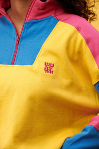 Lucy & Yak Tops Marley Cropped Half Zip Sweater with Yellow, Blue & Pink Panels