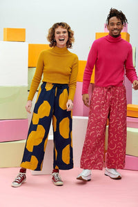 Lucy & Yak trousers Chuck Organic Culotte Trousers in Navy & Mustard Abstract Spot Print
