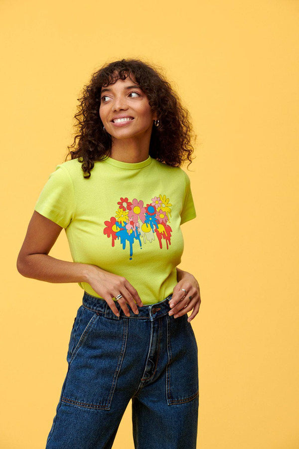 Lucy & Yak TOP Maya Tee With Melting Flowers Print in Lime Green by Lindsey Made This