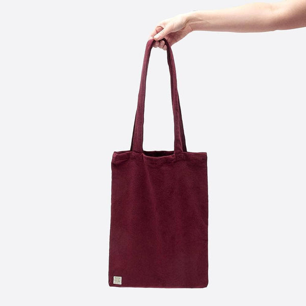 Lucy & Yak Bag ♻️'Idly' Recycled Corduroy Tote Bag In Maroon ♻️