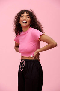 Lucy & Yak Tops Ari Cropped Lettuce Hem Tee With Contrasting Stitching - Pink & Lime