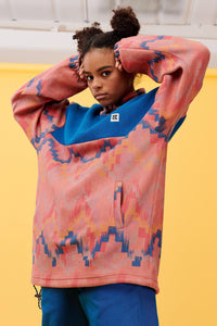 Lucy & Yak Polar Fleece Stevie Oversized Cosy Fleece in Albaquirky Zig Zag Print