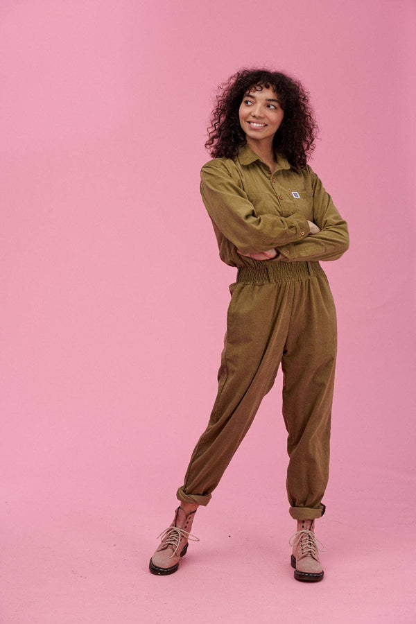 Lucy & Yak Boilersuit Eddie Organic Corduroy Boilersuit in Dark Olive Green