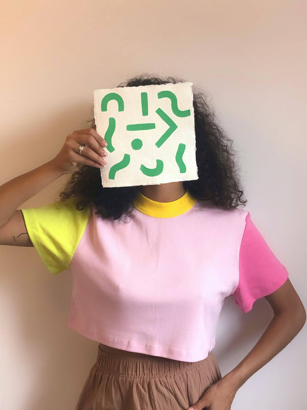 Lucy & Yak Tops 'Nola' Block Colour Boxy Cut Tee In Pink, Yellow & Green