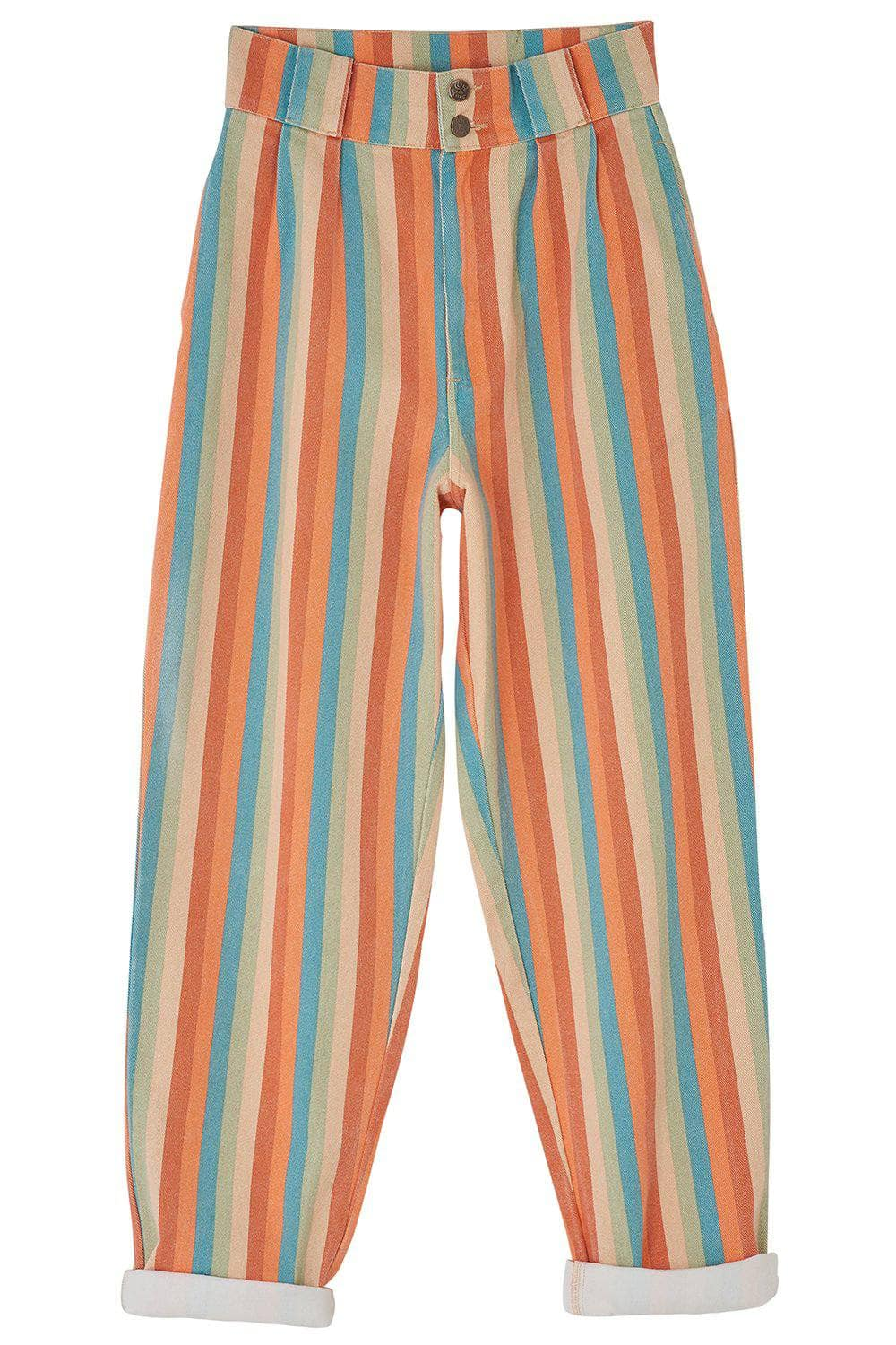 Lucy & Yak jeans The Sundaze Collection - 'Addison' High Waisted Organic Cotton Twill Jeans in Earthy Rainbow