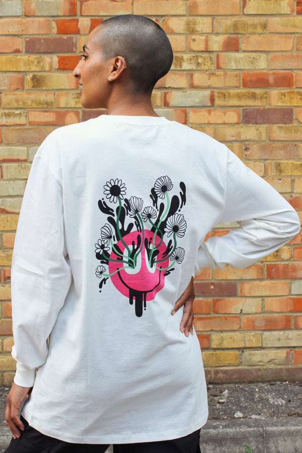 Lucy & Yak Tops 'Kenny' Long Sleeved Skater Top With Pink Face and Flowers in Whiteby Lindsey Made This
