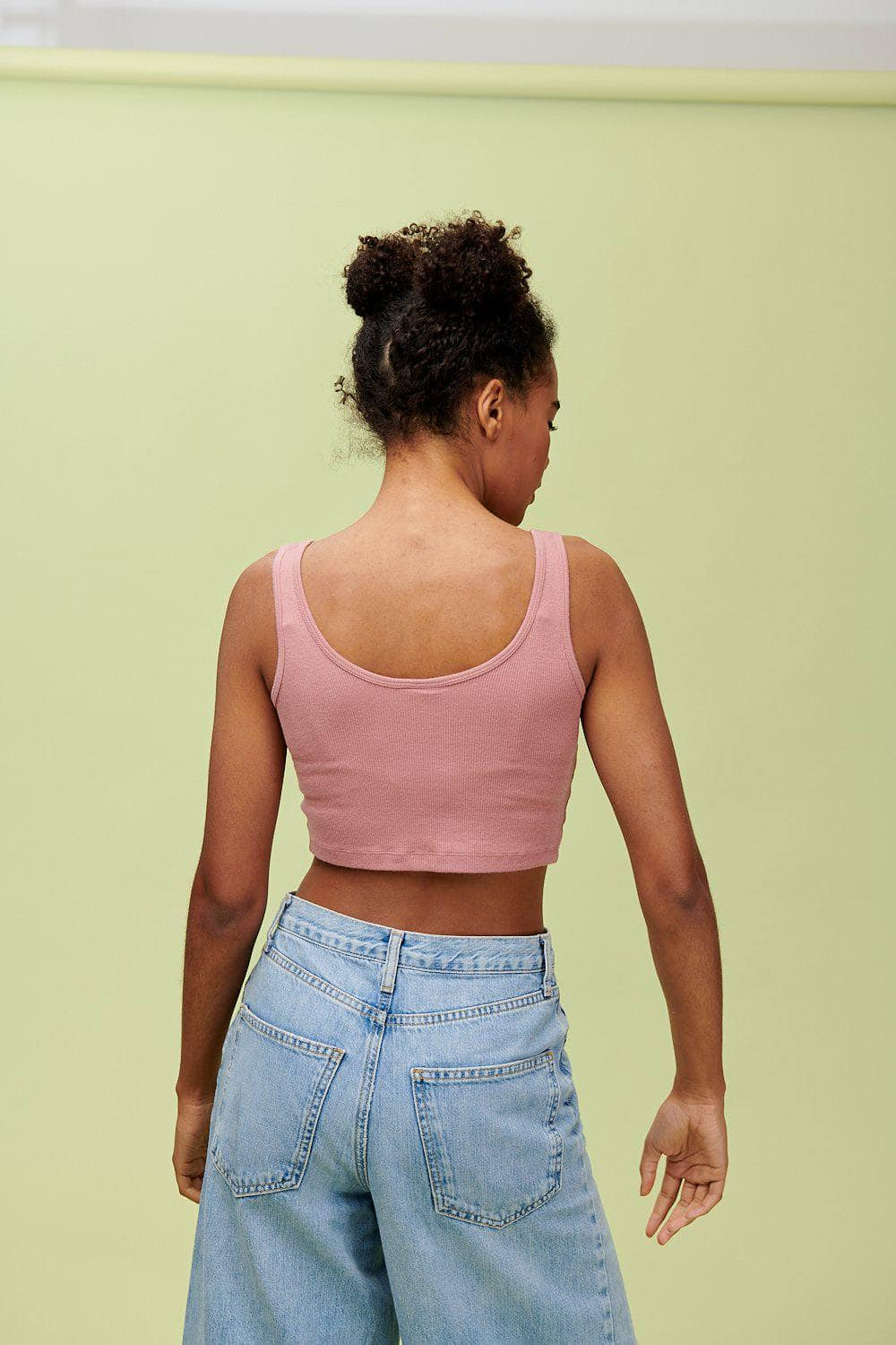 Lucy & Yak Tops 'Piper' Crop Vest Top in Ash Pink