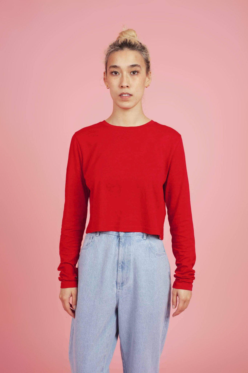 Lucy & Yak Tops Elva SeaCell Cropped Tee in Haute Red