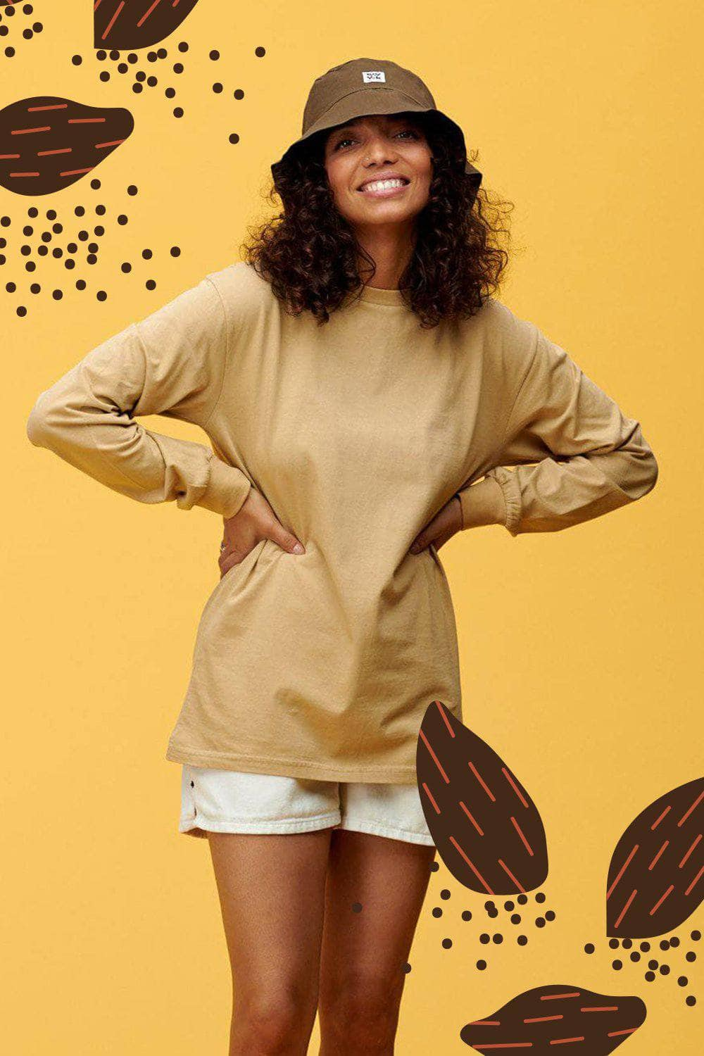 Lucy & Yak Tops Kenny Veg Dyed Long Sleeved Skater Top in Sand