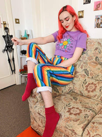 Lucy & Yak Tops 'Maya' Tee in Purple with Cute Queers Club Print by Wednesday Holmes