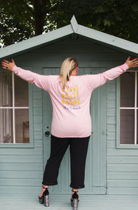 Lucy & Yak Tops 'Kenny' Long Sleeved Skater Top in Pink with Wiggle Print by Wednesday Holmes