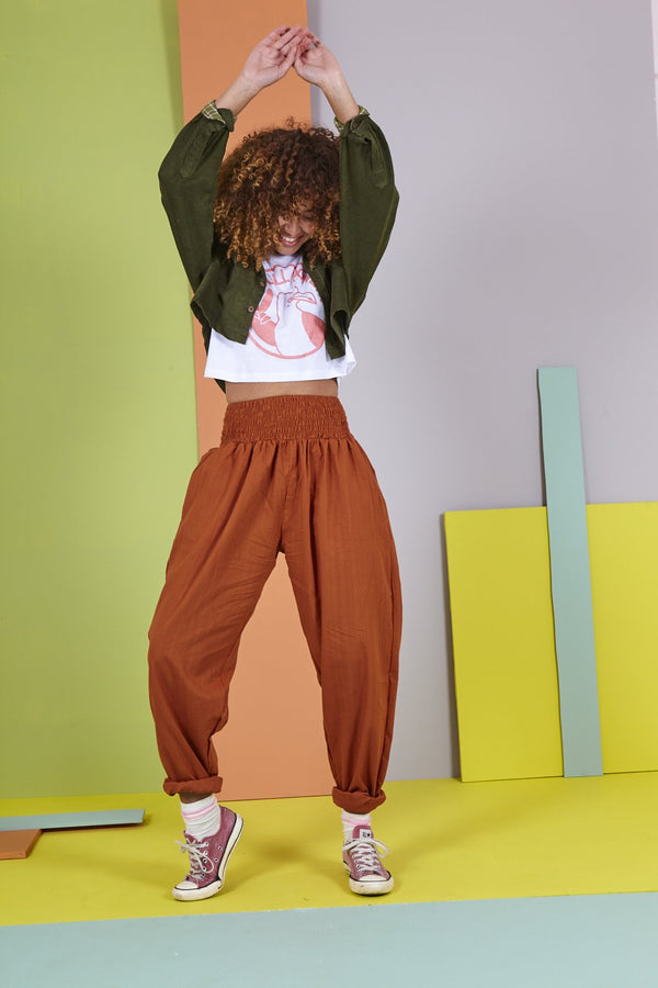 'Organic Taupo' High Waist Cotton Trouser in Rust Orange