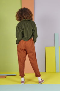 Lucy & Yak cotton trousers 'Organic Taupo' High Waist Cotton Trouser in Rust Orange