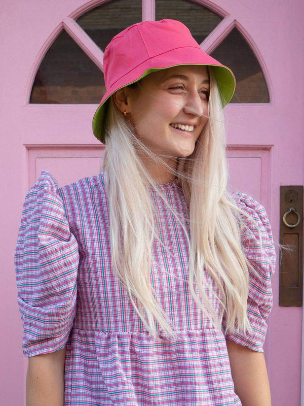Lucy & Yak Hat Made in Britain 'Travis' Bucket Hat in Strawberry & Lime