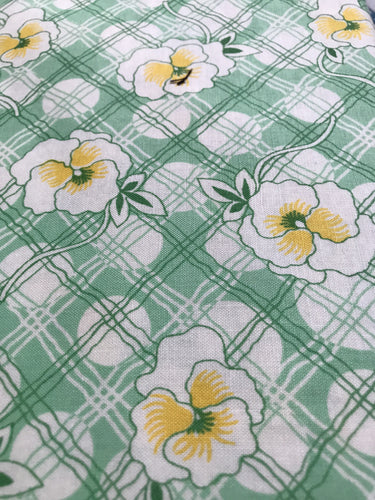 Green Yellow White Pansies 30's Repro Fabric