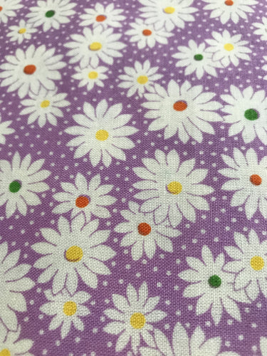 Purple White Daisies Fabric 30's Repro