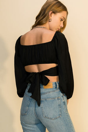Ralleigh Tie Top-Black