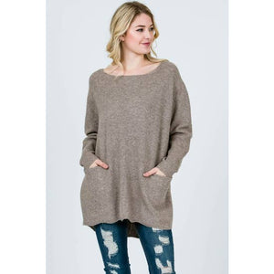 FA Front Pocket Sweater Tunic Taupe