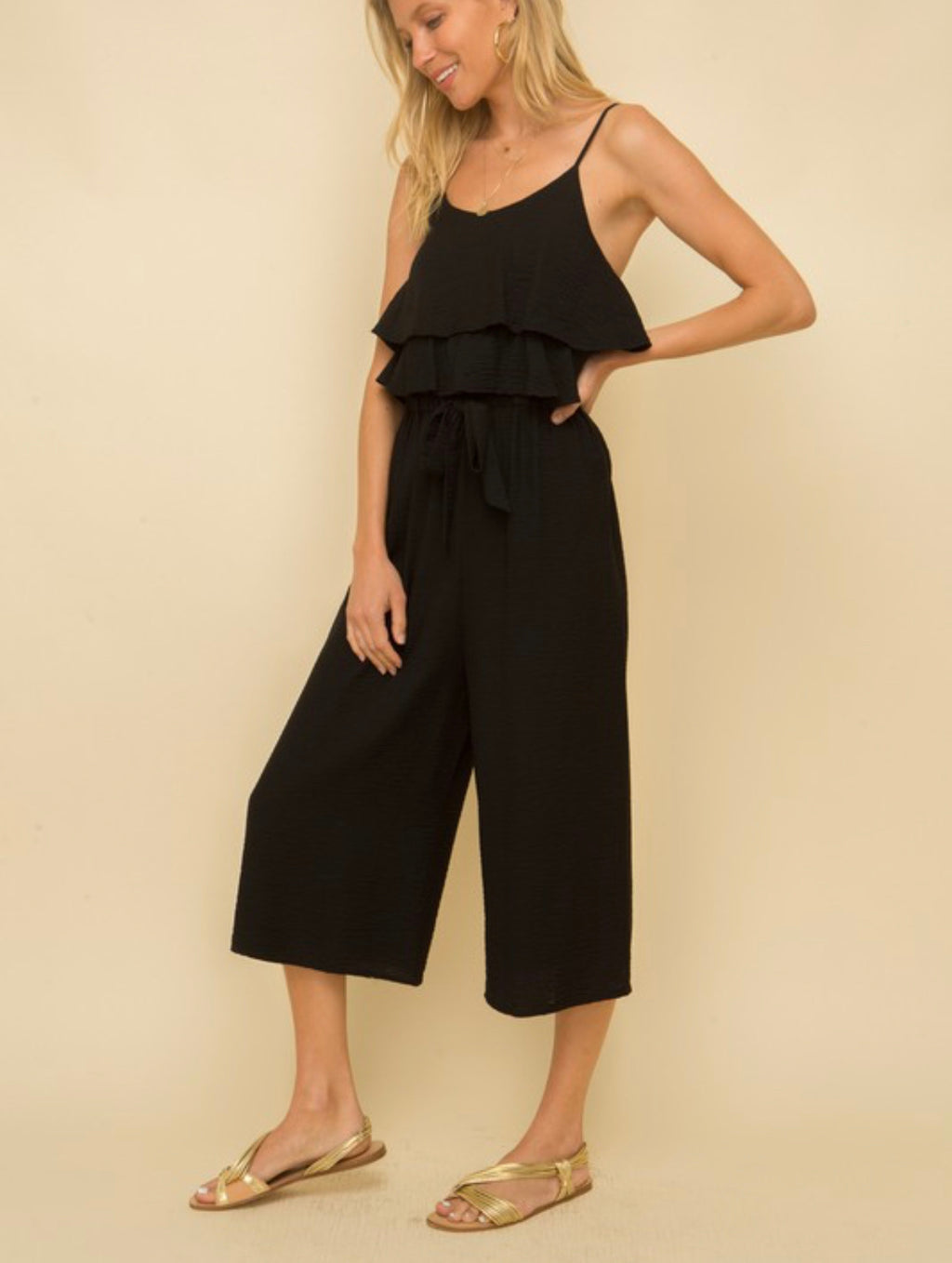 Tiered Ruffle Black Jumpsuit