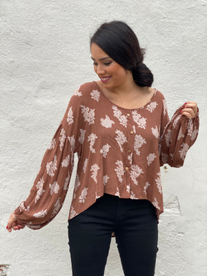 Rust & Floral button top
