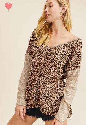 First Love Leopard Contrast Top