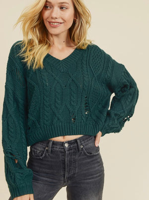 Emerald Crop Cable Knit Sweater