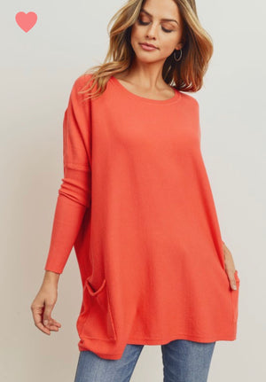 Deep Coral Pocket sweater