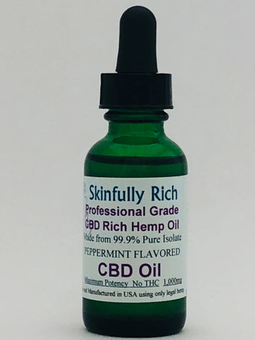 Peppermint Flavored 1,000mg CBD Isolate Tincture Drops- 1oz