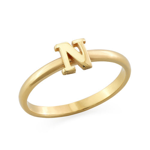 Stackable Initial Ring in 18K Gold Plating