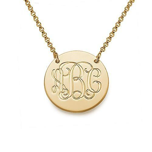Monogram Disc Necklace in 18K Gold Plating - My Family Necklace
