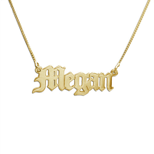 Old English Name Necklace in 18K Gold Plating