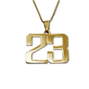 Number Necklace in 18K Gold Plating- Personalized Jewelry For Men