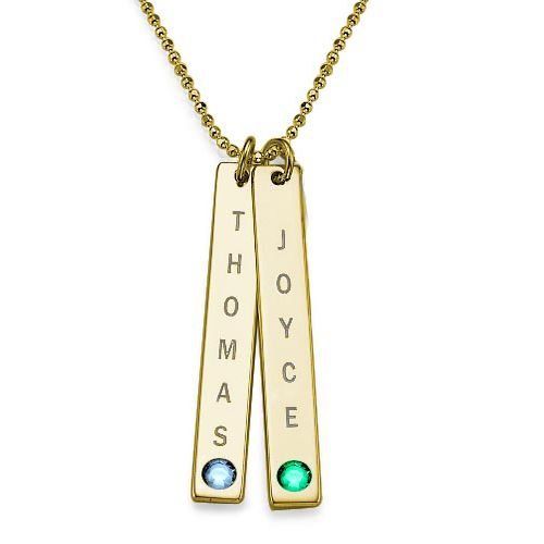Vertical Bar Necklace with Swarovski in 18K Gold Plating - My Family Necklace