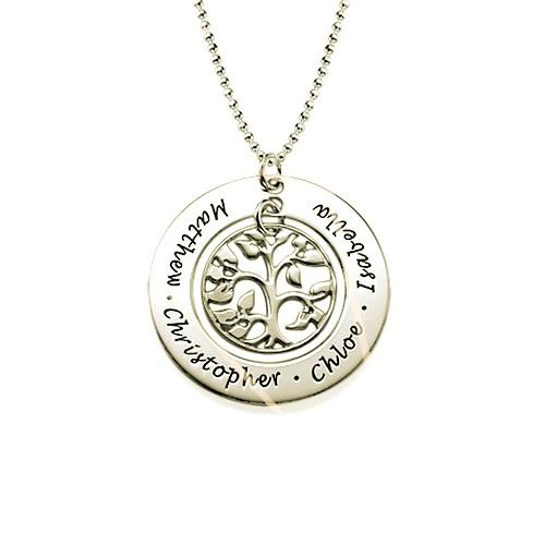 Silver Family Tree Necklace - My Family Necklace