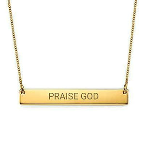"""Praise God"" Christian Inspirational Bar Necklace - My Family Necklace"
