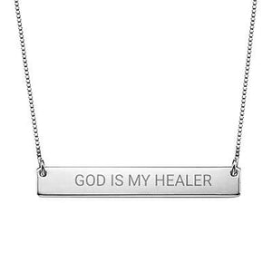 """God Is My Healer"" Christian Inspirational Bar Necklace in Sterling Silver - My Family Necklace"
