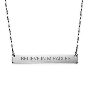 """I Believe in Miracles"" Christian Inspirational Bar Necklace in Sterling Silver - My Family Necklace"
