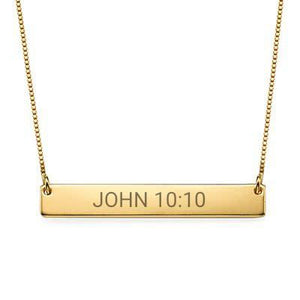"""John 10:10"" Christian Inspirational Bar Necklace - My Family Necklace"